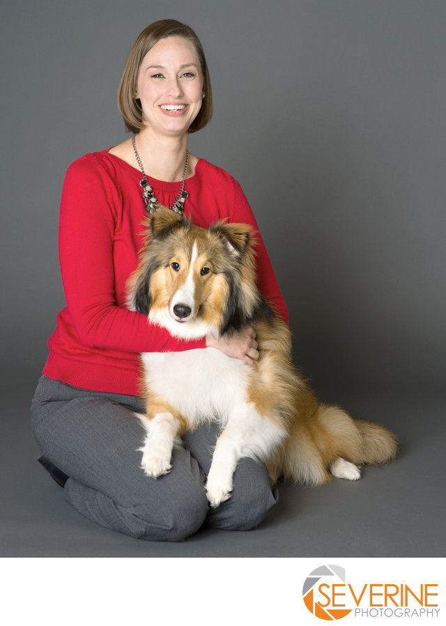 professional portrait for veterinarian and their pets