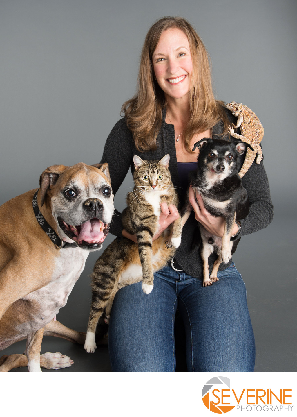 professional portrait for women with their pets