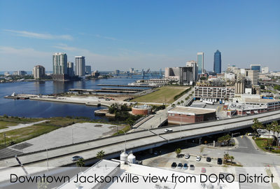 aerial view of downtown Jacksonville from the stadium