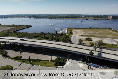 aerial view of the St Johns river from the baseball grounds of Jacksonville