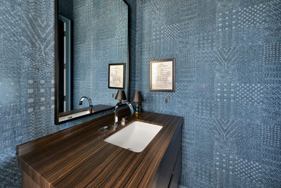 Blue bathroom in a beach house in Jacksonville Florida