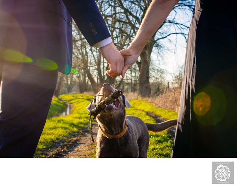 Spring Engagement Session with Dog