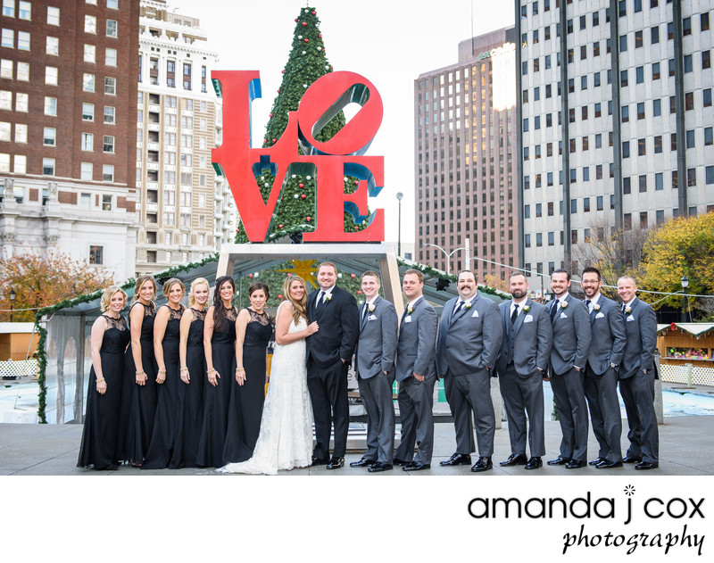 Love Park Philadelphia Bridal Party Photographer