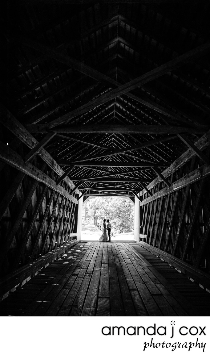 Bucks County Covered Bridge Engagement Photo