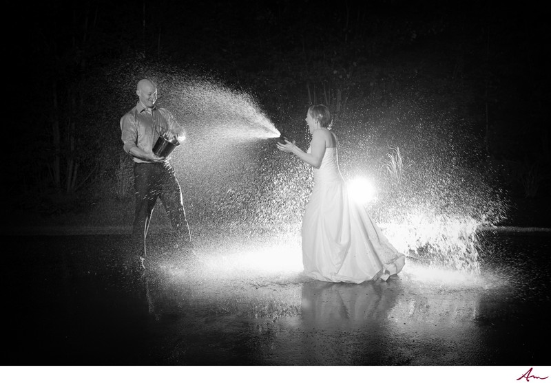 Halifax Bride and Groom water fight at nighttime