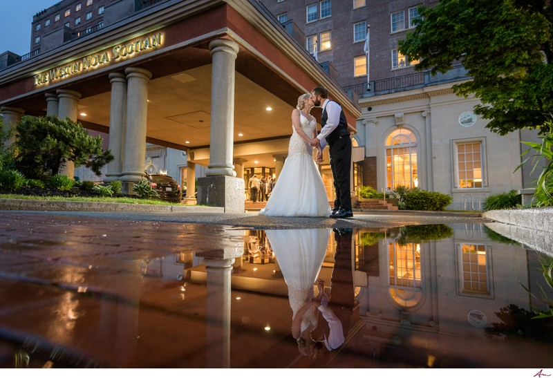 Halifax Wedding Couple Outside The Westin Nova Scotian