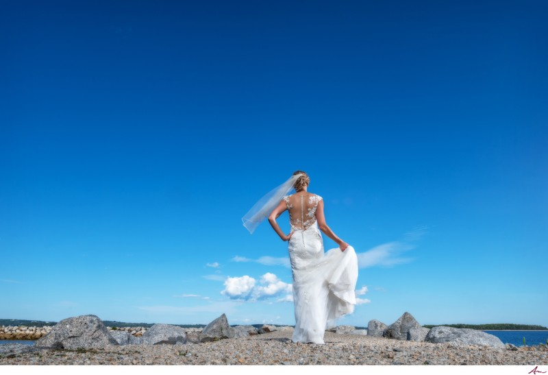 Oak Island Bride on the Breakwater