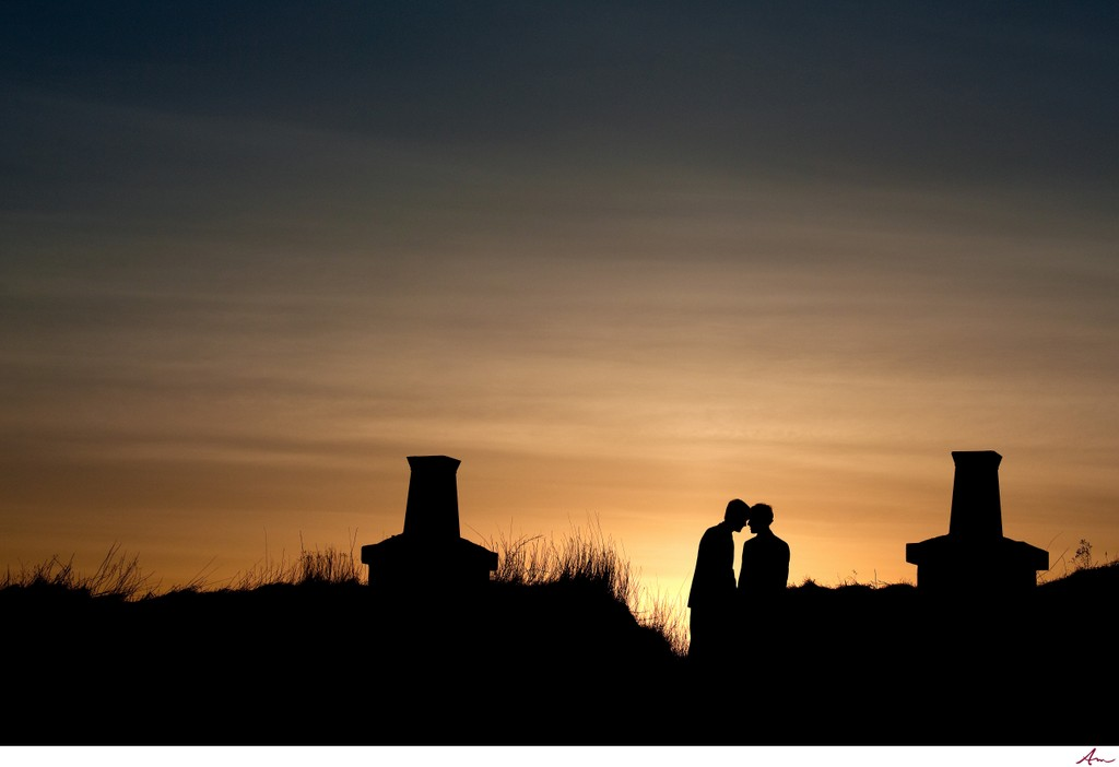 Couple kissing at sunset on Citadel Hill Halifax