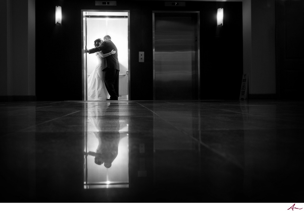 Halifax Bride and Groom kissing in elevator