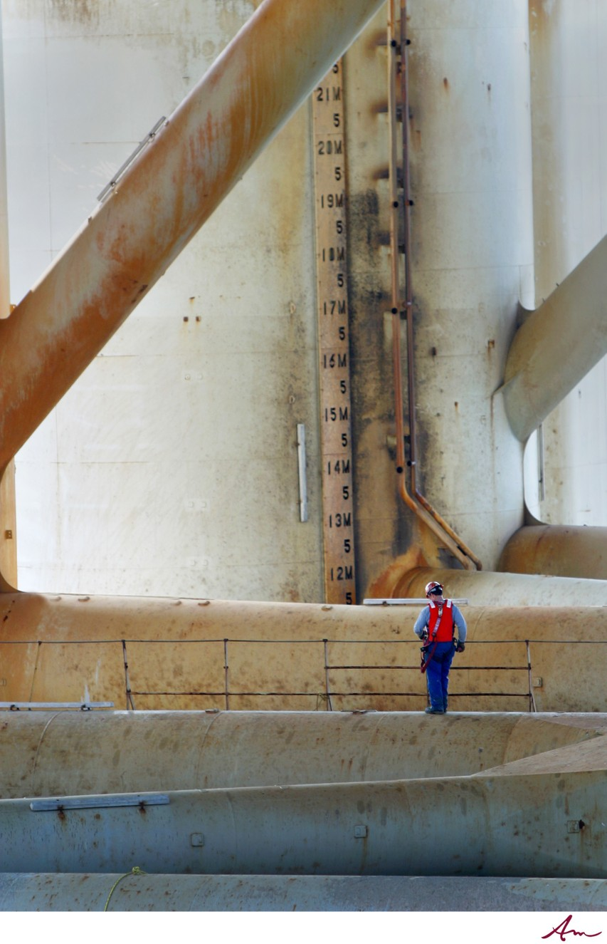 Halifax worker on an oil rig in Halifax Harbour.