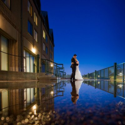 Downtown Halifax Wedding Patio Reflection