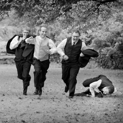 Groomsman Falling in Dartmouth Park