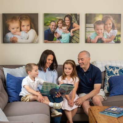 Bedford family with wall art