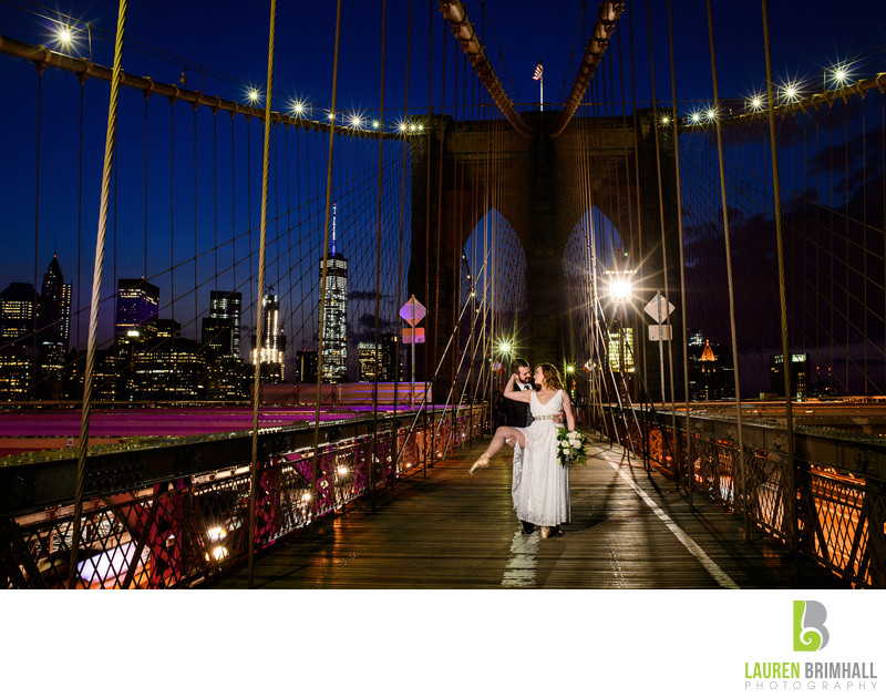 Brooklyn Bridge Wedding Portrait at Sunset