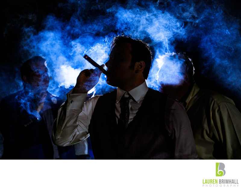 Groom Smoking Cigar