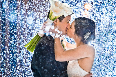 Snowy Wedding Day Embrace