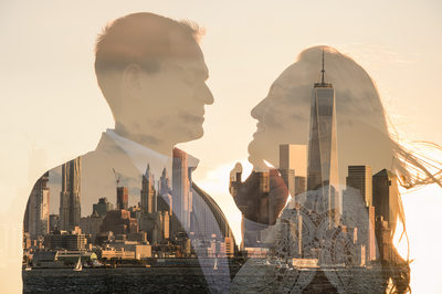 New York City Skyline Double Exposure