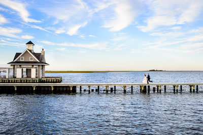Yacht Club Pier Wedding Portrait