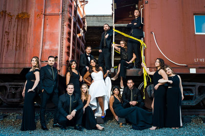 Edgy Posed Wedding Party Portrait