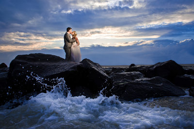 Cape May Beach wedding waves crash on rocks