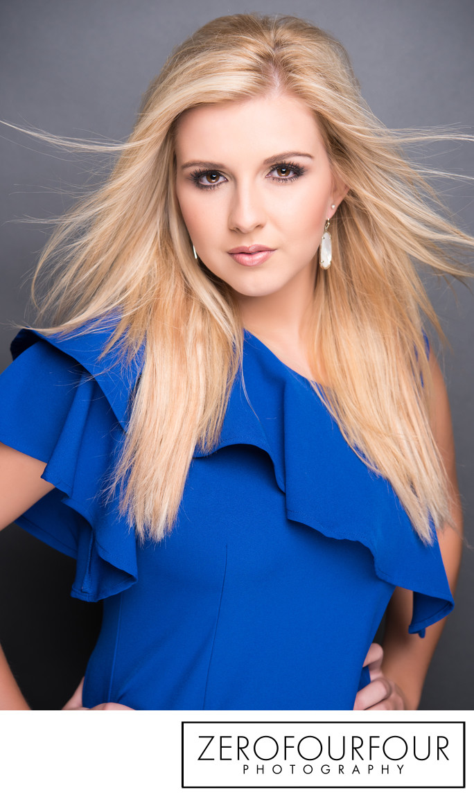 Fashion styled pageant studio headshot