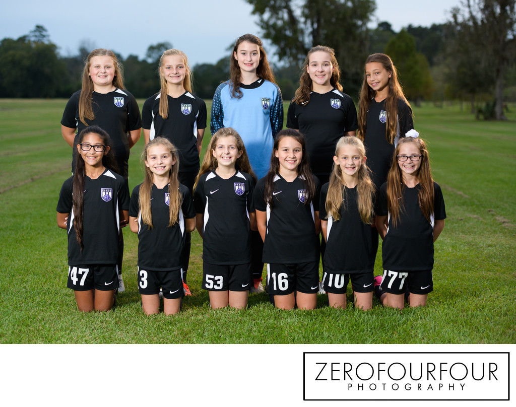 Denham Springs competitive soccer girls team photograph