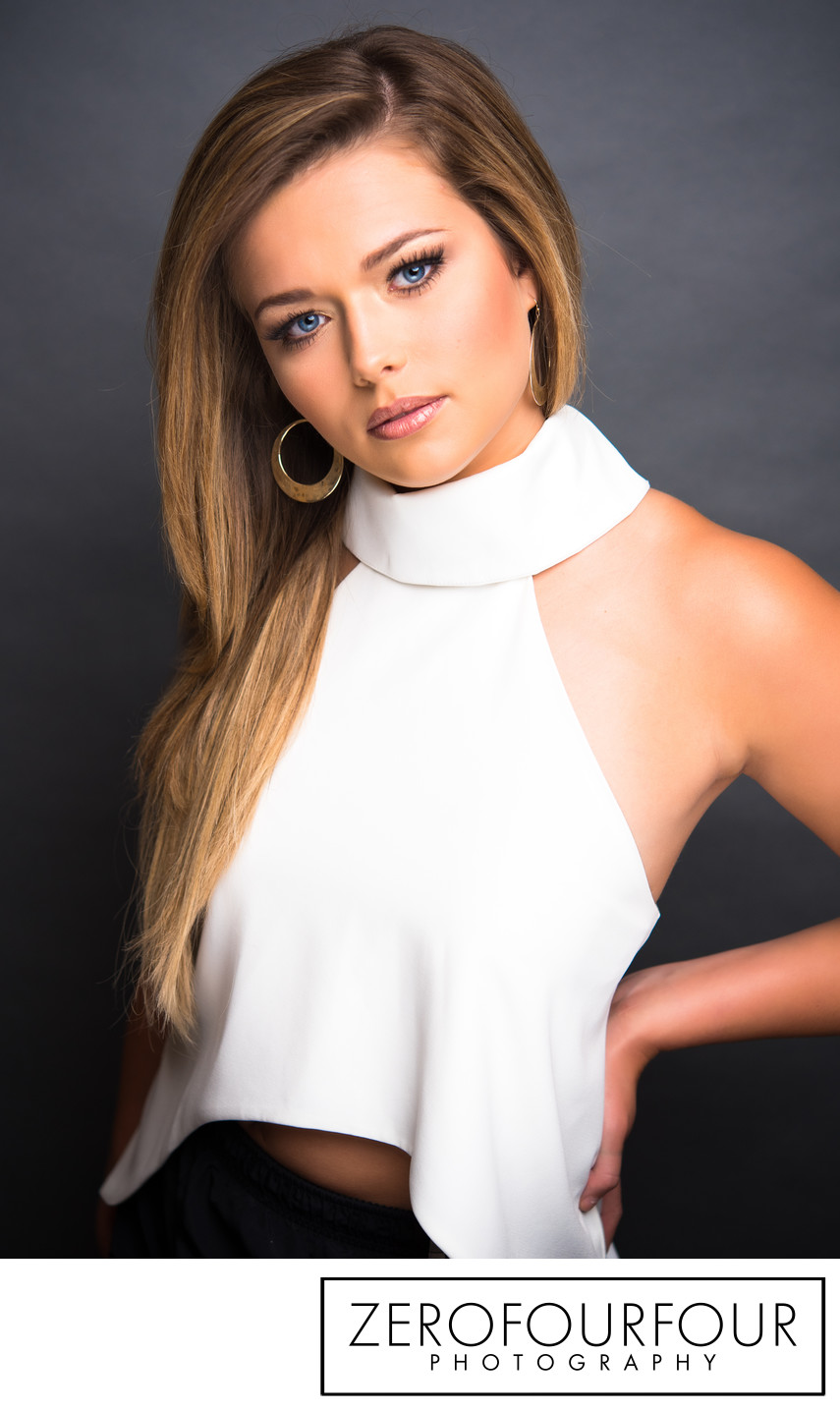 Stunning pageant contestant headshot for competition