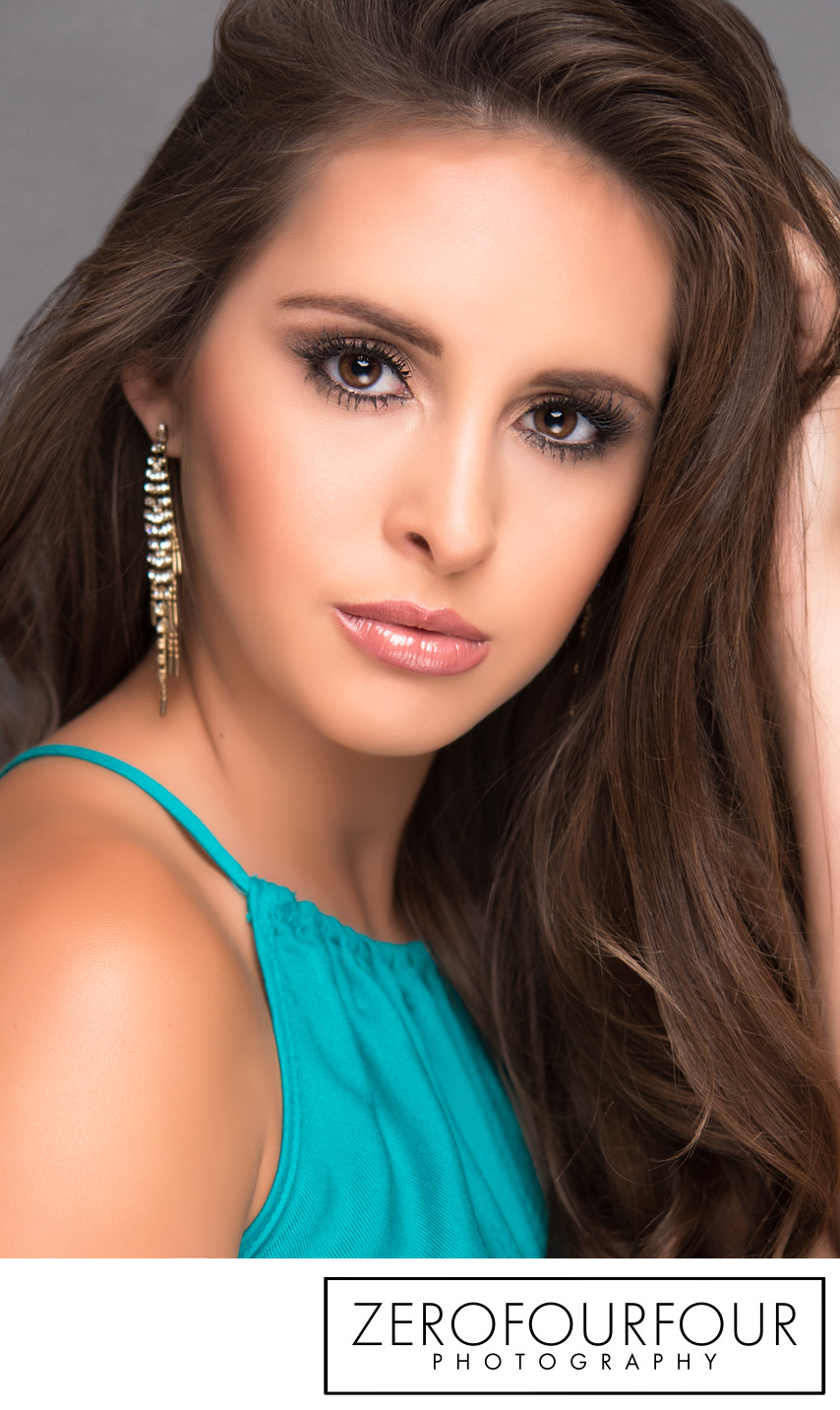 Pageant contestant headshot in Louisiana studio
