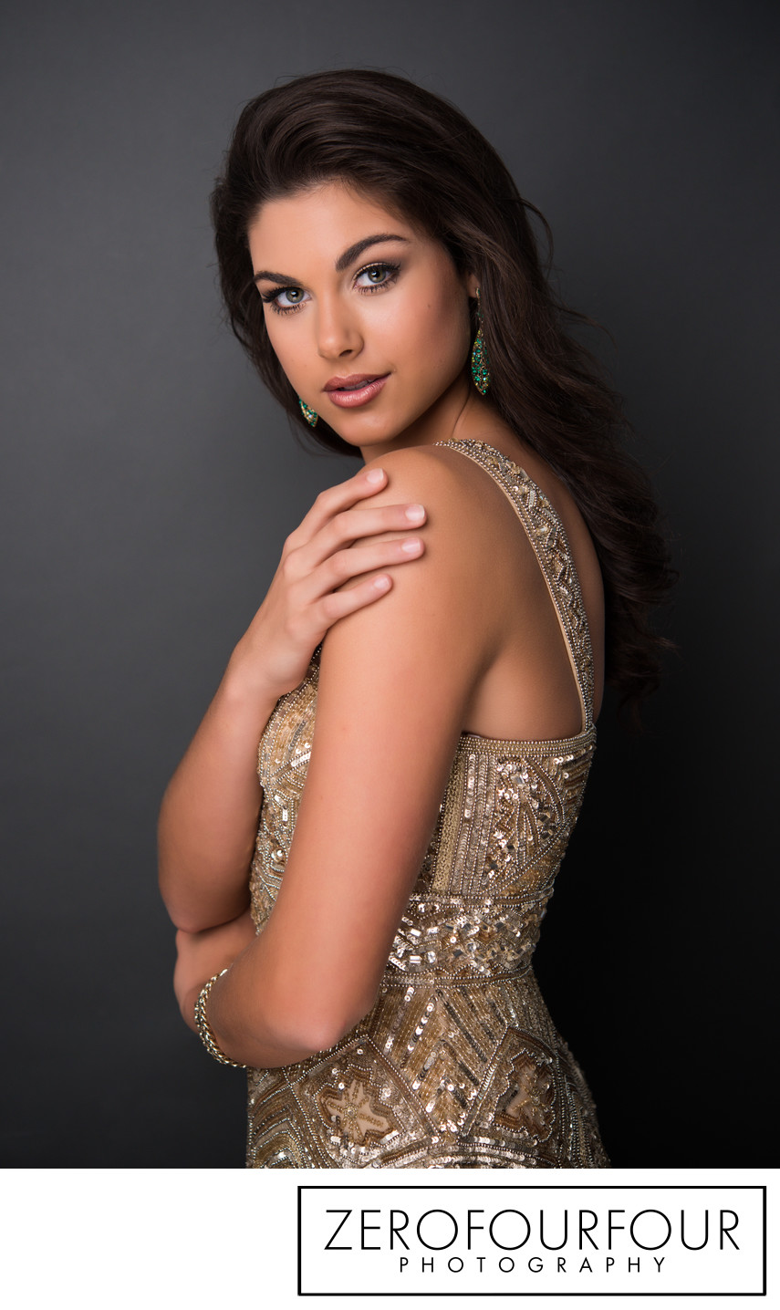 Pageant queen and model studio head shot photo shoot