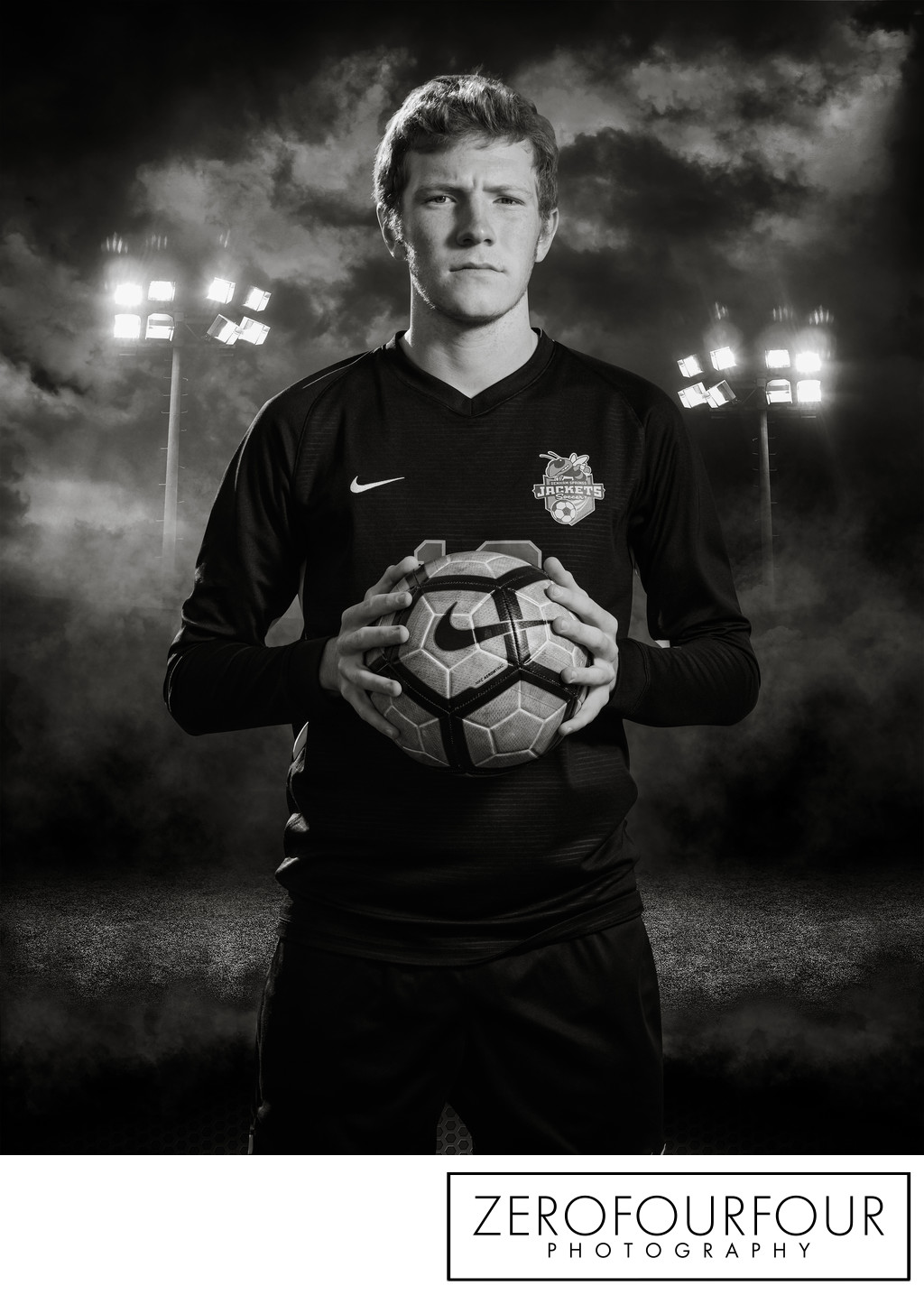 Black and white dramatic sports player portrait