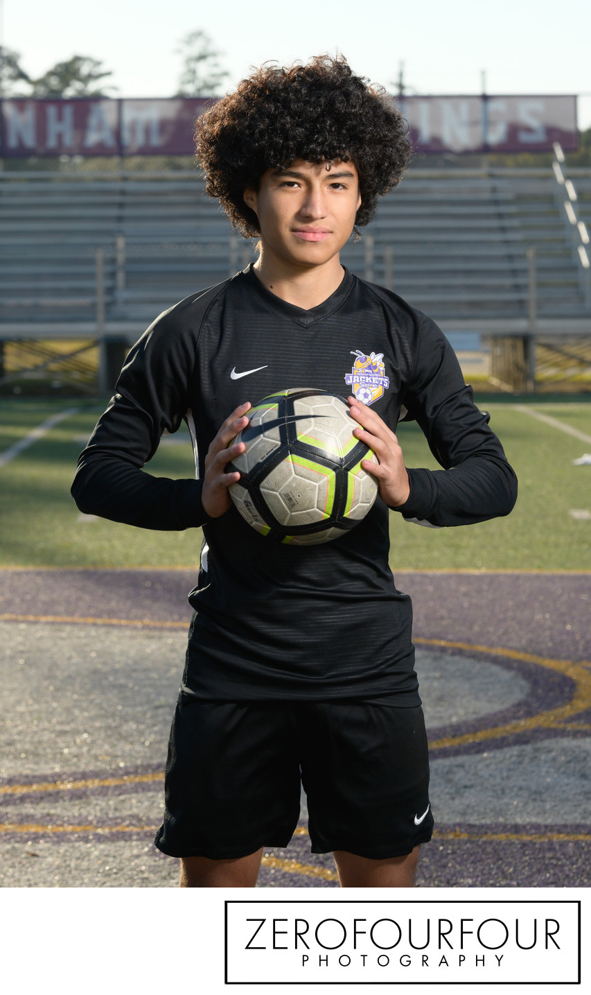 Soccer player portrait for Denham Springs boys team