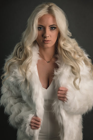 White fur and platinum hair for this fashion photoshoot