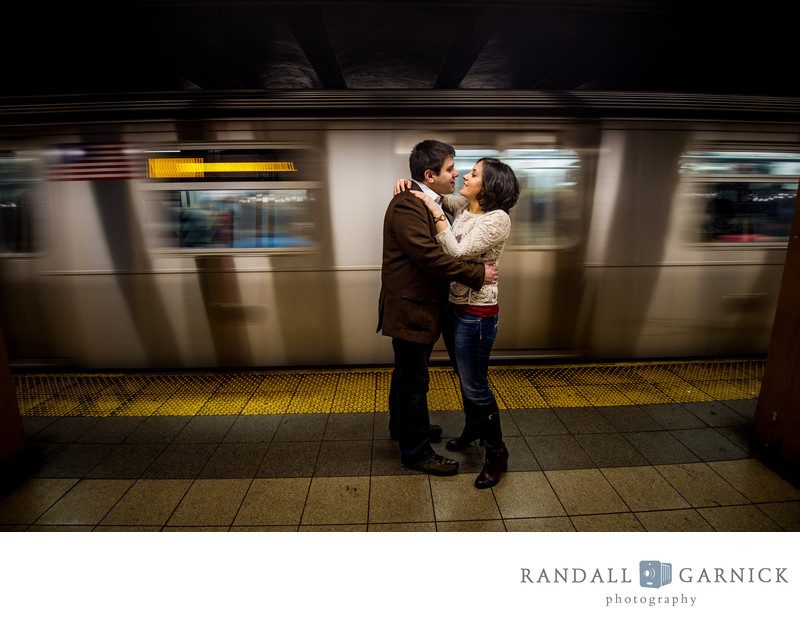 NYC Subway engagement photographer