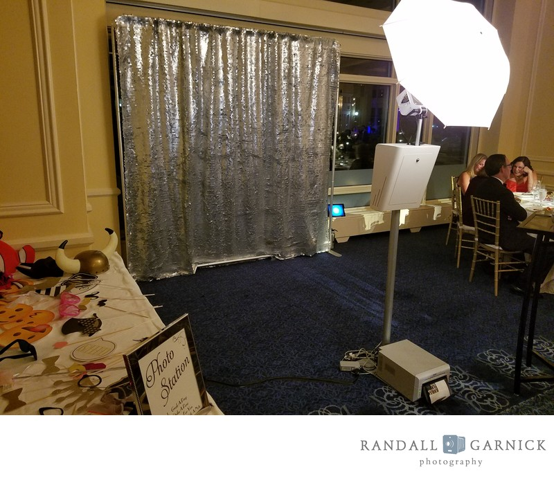 Photo booth setup at a Seaport Hotel wedding