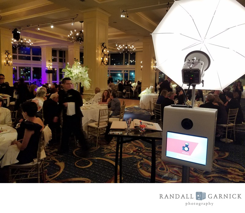 BTS view of photo booth setup at a wedding reception