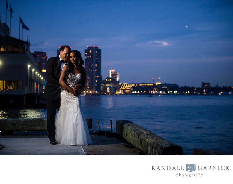Night bridal photos on Boston's waterfront