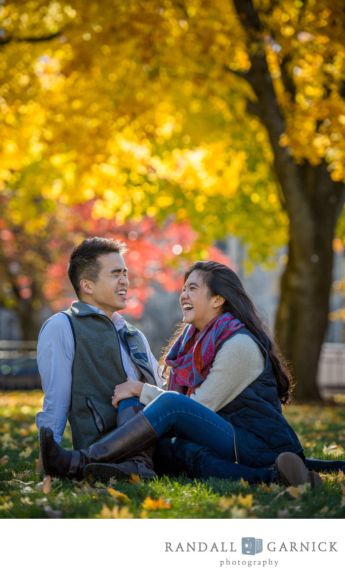 Boston College Fall engaged couple