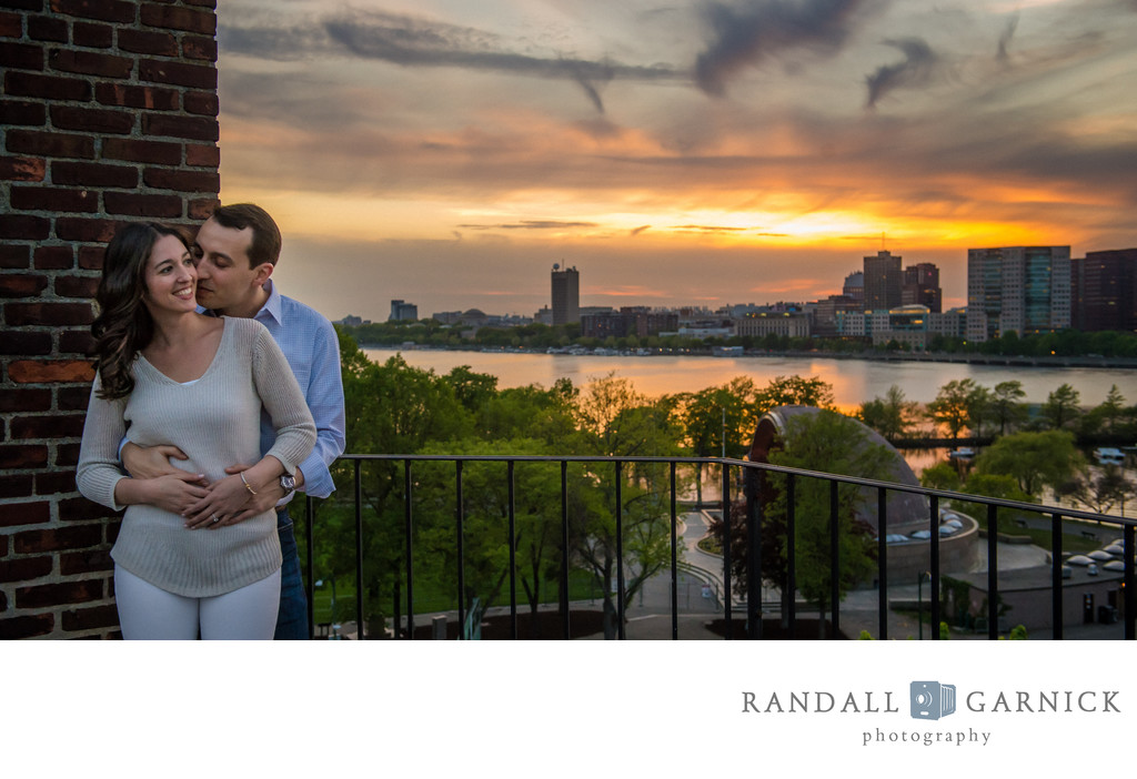 Boston rooftop engagement photos at sunset