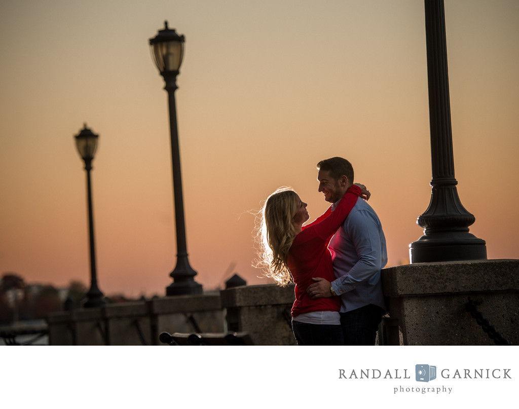 Sunset engagement photo ideas in Boston