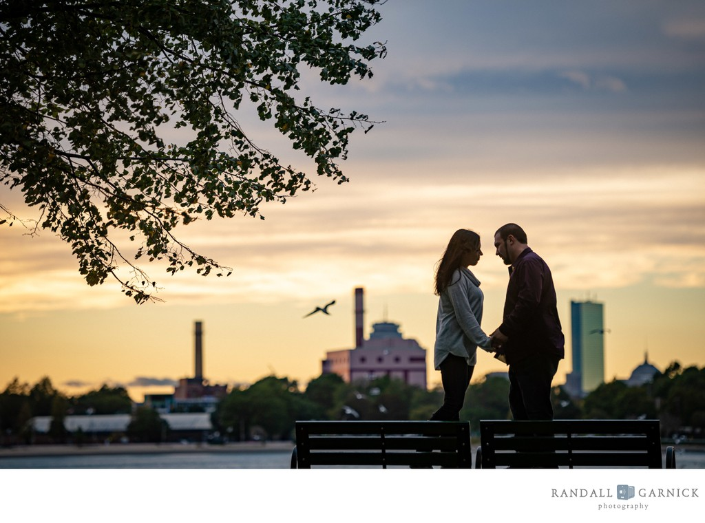 Castle Island Boston engagement session at sunset
