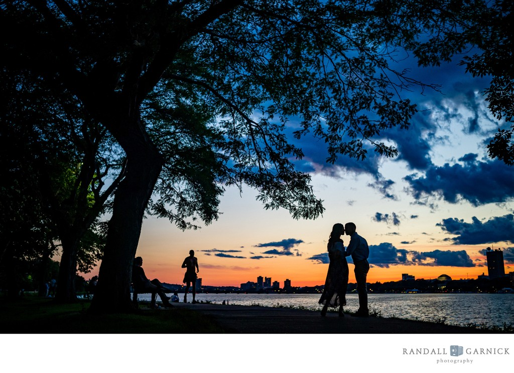 Charles River Esplanade sunset silhouette