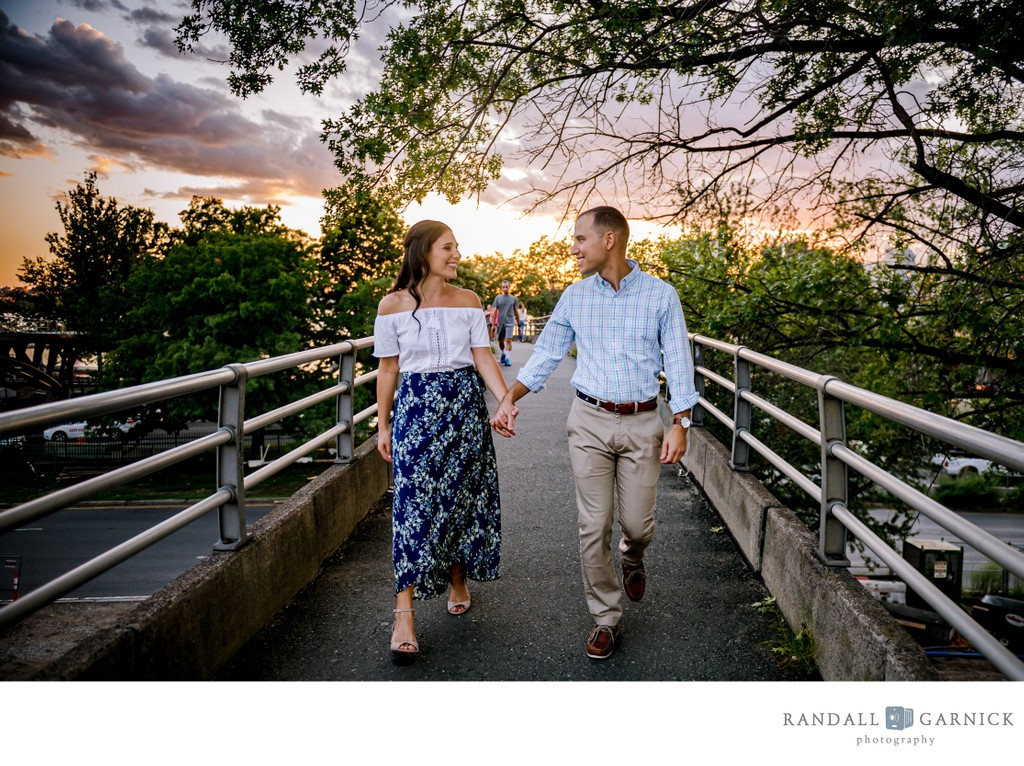 Sunset engagement session along the Charles River