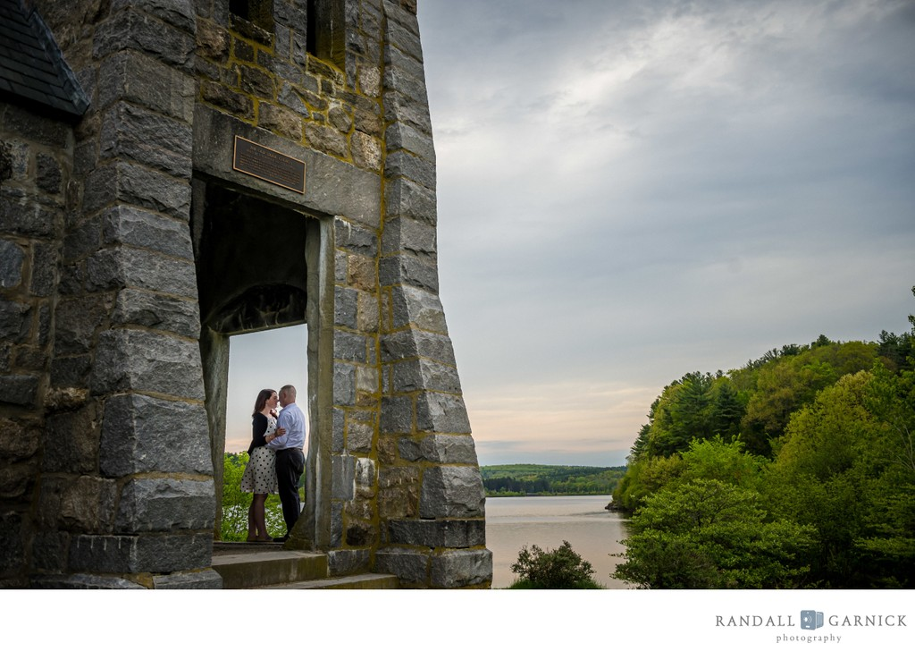 Old Stone Church sunset engagement photos