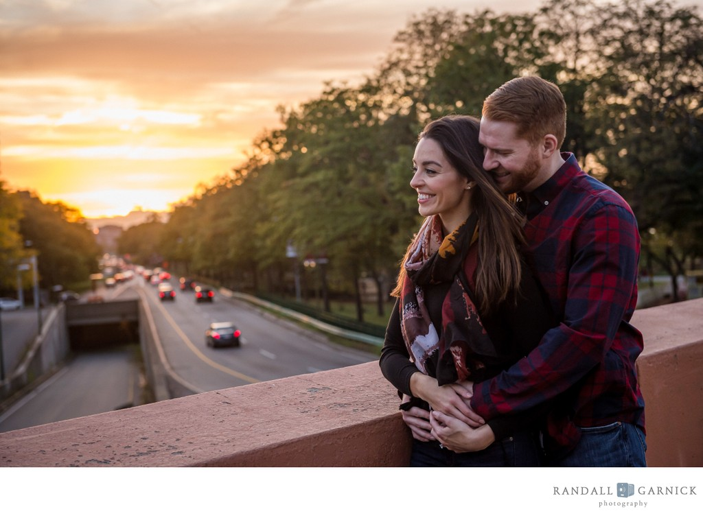 Boston engagement session Storrow Drive sunset