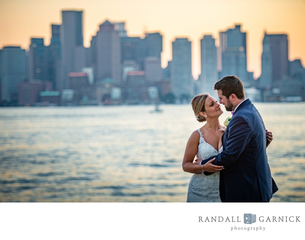 Boston skyline wedding portrait from the Hyatt