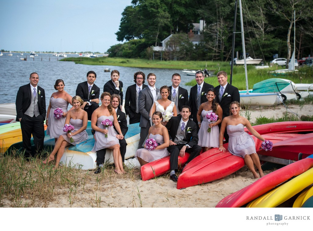 Cape Cod wedding photos bridal party on beach