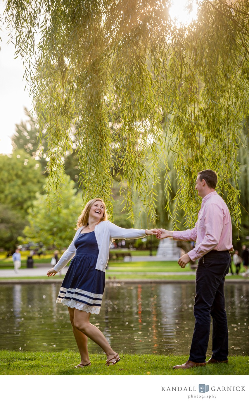 Boston Public Garden engagement session dancing