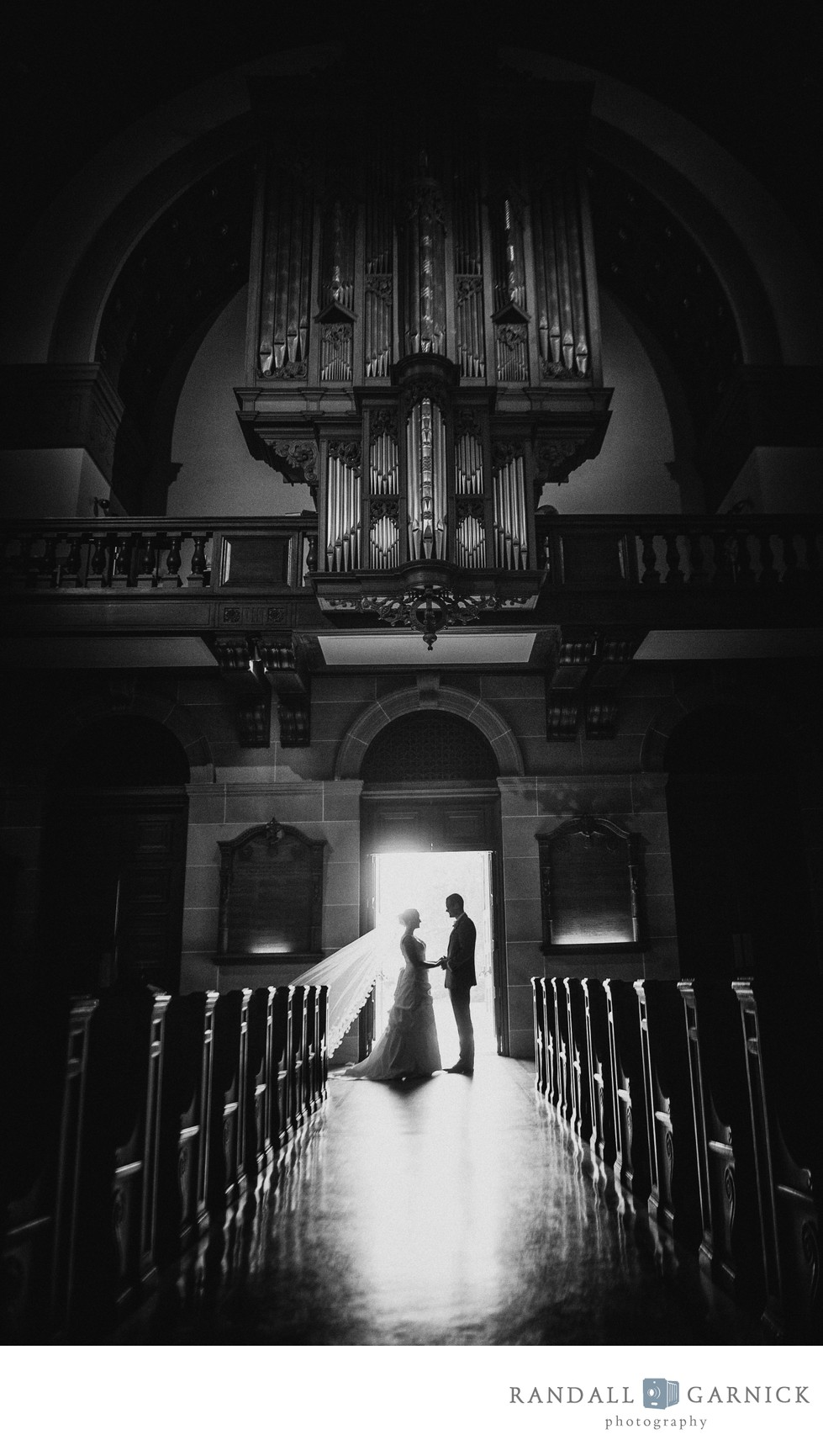 Creative black and white wedding photos at Holy Cross