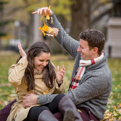 Fall in New England engaged couple