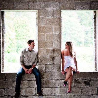 white dress engagement photo ideas